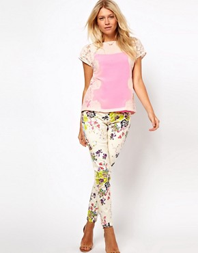 Image 4 ofTed Baker Lace Detail Top with Bright Lining Detail