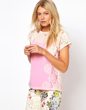 Image 1 ofTed Baker Lace Detail Top with Bright Lining Detail