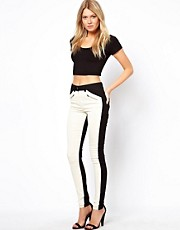ASOS Skinny High Waist Trousers in Colourblock
