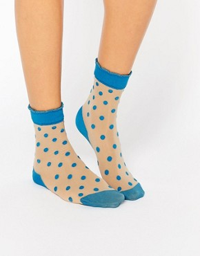 Pretty Polly Blue Spot Sock