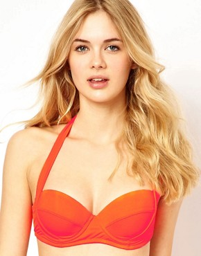 Image 1 ofASOS Mix and Match 50s Halter Padded Bikini Top