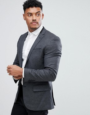 River Island Slim FIt Suit Jacket with Contrast Detail