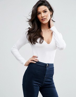 ASOS Body With V Neck Long Sleeve And Thong