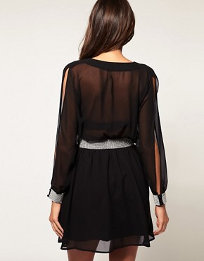 Image 2 ofASOS Slash Sleeve Dress with Diamante Trim