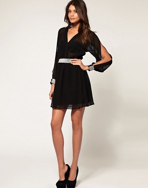 Image 4 ofASOS Slash Sleeve Dress with Diamante Trim