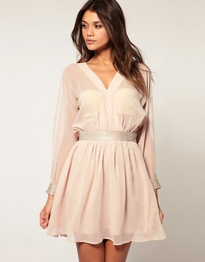 Image 1 ofASOS Slash Sleeve Dress with Diamante Trim
