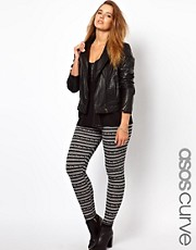 ASOS CURVE Exclusive Legging In Mono Stripe