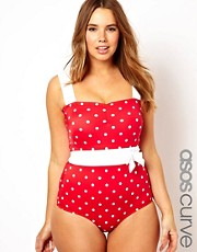 Esclusiva ASOS Curve - Costume da bagno con pois a contrasto