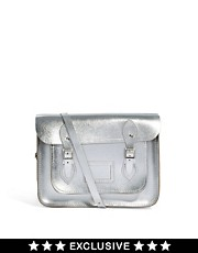 Cambridge Satchel Company  13 Zoll groe Ledersatchel in Silber-Metallic, exklusiv bei ASOS