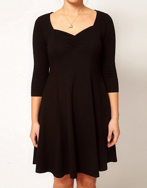 Image 3 ofASOS CURVE Exclusive Skater Dress with 3/4 Sleeve