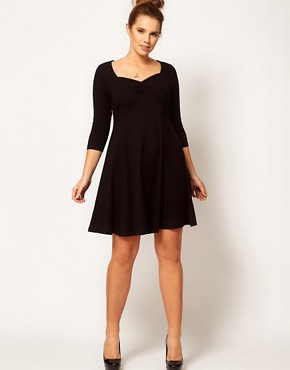 Image 4 ofASOS CURVE Exclusive Skater Dress with 3/4 Sleeve