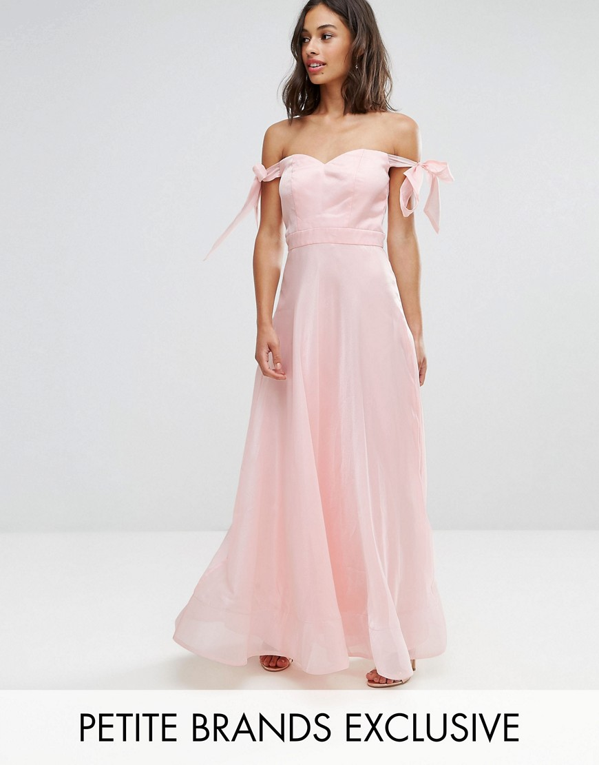 Chi Chi Petite Floaty Maxi Dress With Bow Shoulder Detail - Nude rose