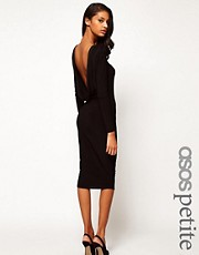 ASOS PETITE Midi Bodycon Dress With Drape V Back