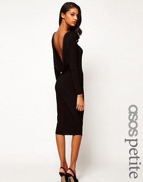 Image 1 ofASOS PETITE Midi Bodycon Dress With Drape V Back