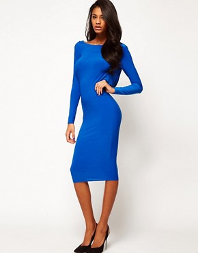 Image 2 ofASOS PETITE Midi Bodycon Dress With Drape V Back