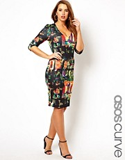 Esclusiva ASOS CURVE - Vestito aderente con stampa citt