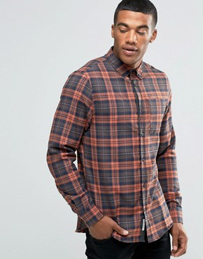 River Island Check Shirt In Orange In Regular Fit