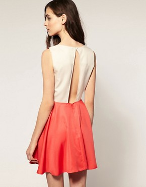 Image 1 ofVero Moda Contrast Open Back Skater Dress