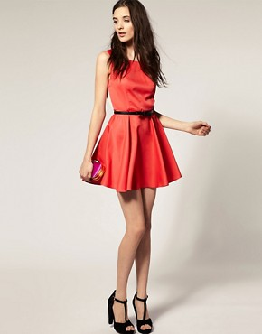 Image 4 ofVero Moda Contrast Open Back Skater Dress