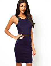 John Zack Midi Dress With Mesh Insert and Cut Away Neck