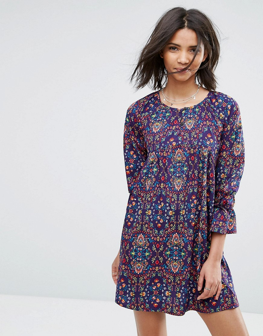 Rage Tied Cuff Floral Smock Dress