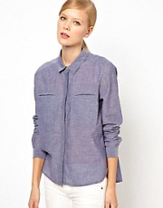 Whistles Freya Cotton Chambray Shirt