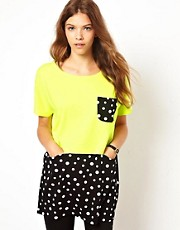 White Chocoolate Polka Dot Mix T-Shirt