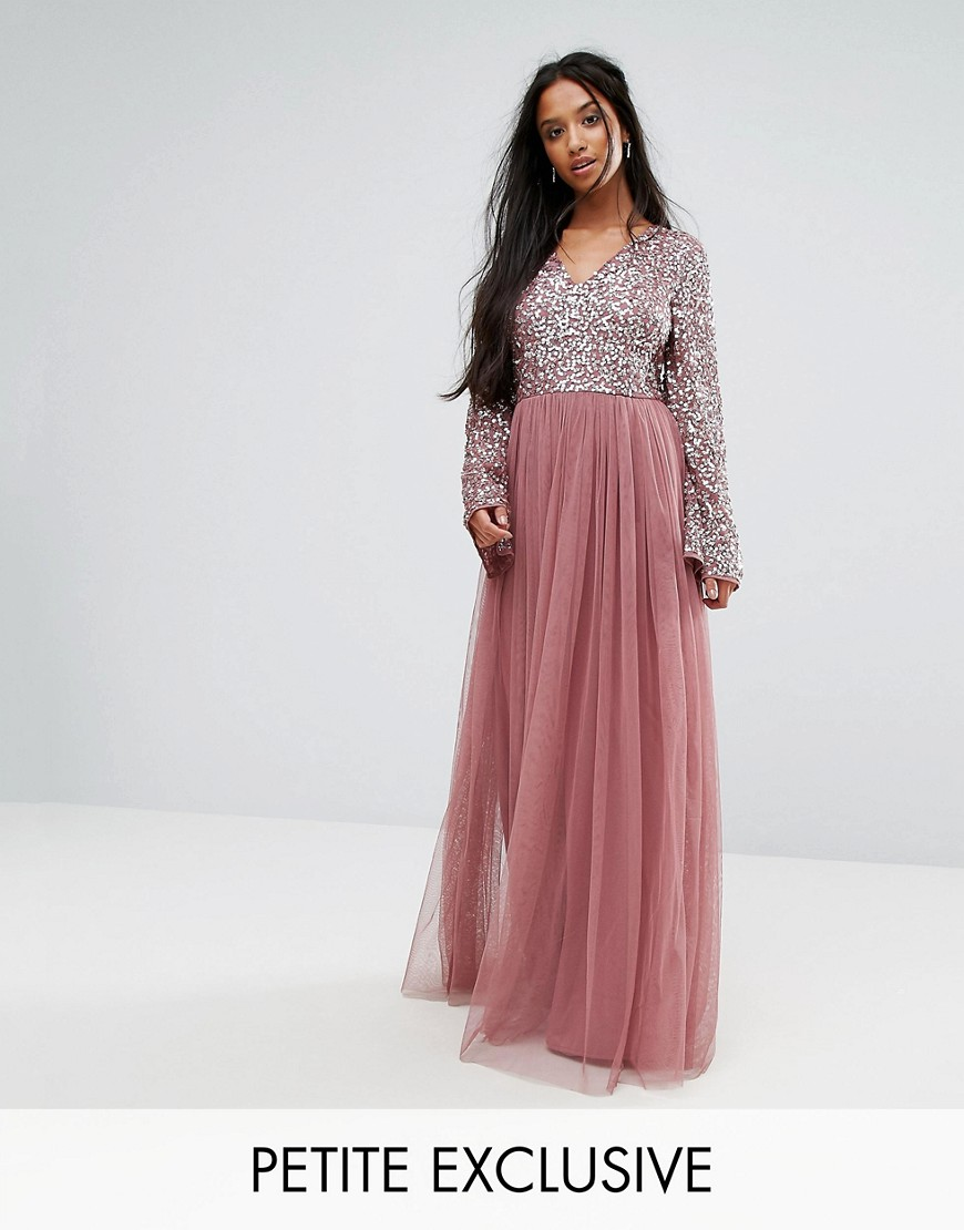 Sequin Top Tulle Maxi Dress With Fluted Sleeve Detail - Dark mauve Maya