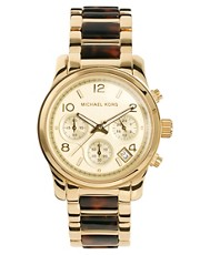 Michael Kors Tortoiseshell &amp; Gold Chronograph Watch