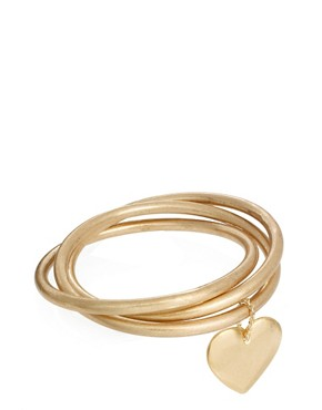 ASOS Jamie Jewelry Three Bangle with Heart Charm