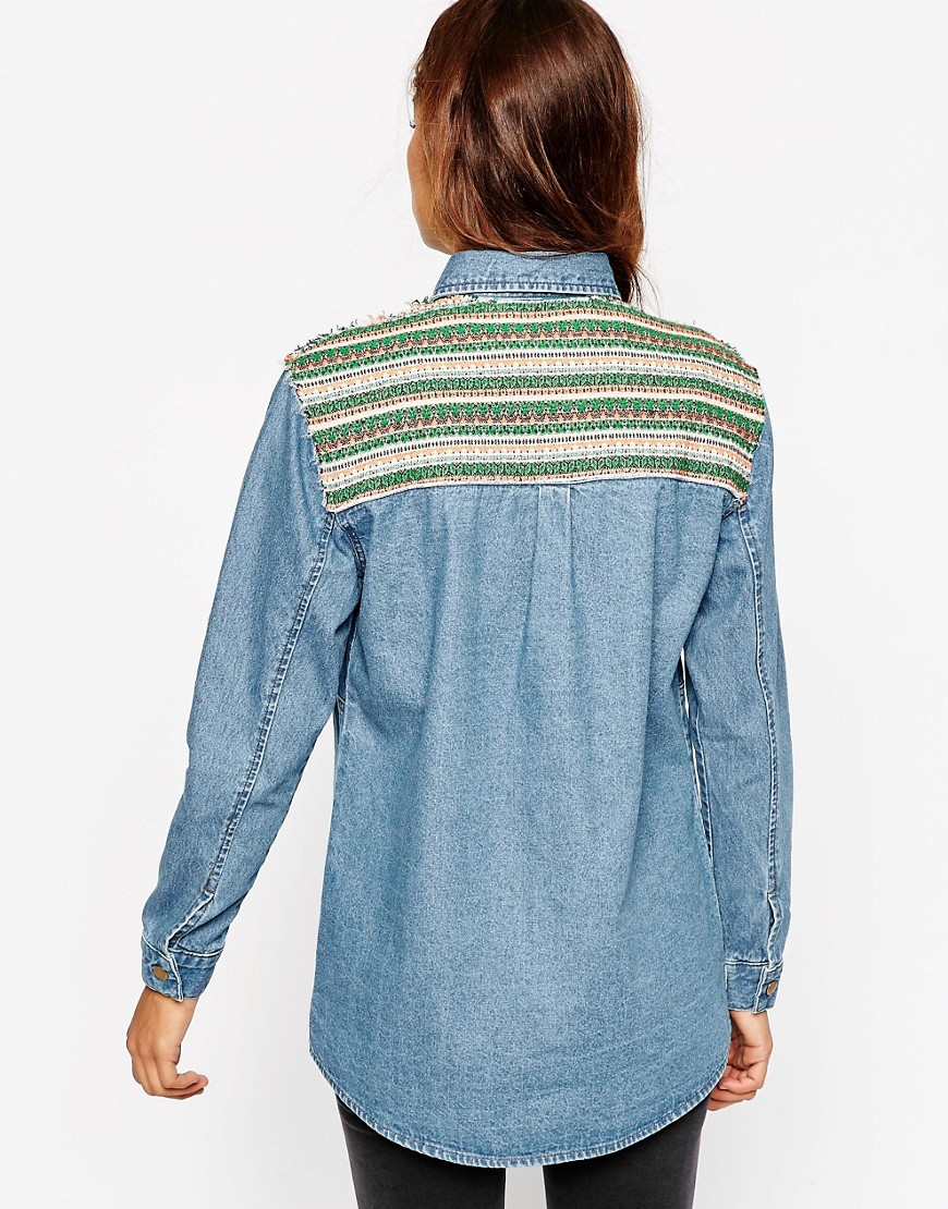 Image 1 of ASOS Oversized Chuck On Denim Shirt With Tapestry Back