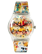 Reloj con estampado de tira de dibujos animados de Disney