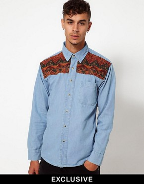 Image 1 ofReclaimed Vintage Denim Shirt with Tapestry Panel