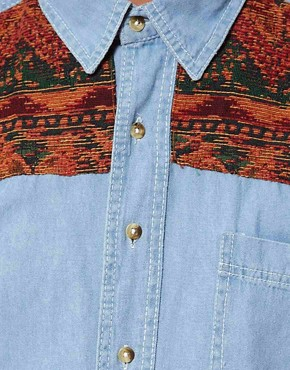 Image 3 ofReclaimed Vintage Denim Shirt with Tapestry Panel