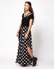 One Teaspoon Control Yourself Wide Leg Palazzo Pants in Polka Dot