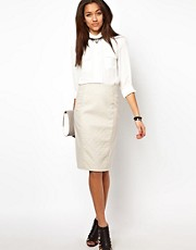 River Island Leather Look Quilted Skirt