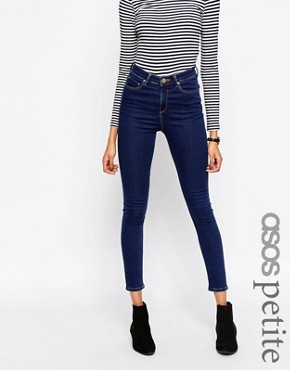 ASOS PETITE Ridley Skinny Jeans in Popular Deep Blue Wash