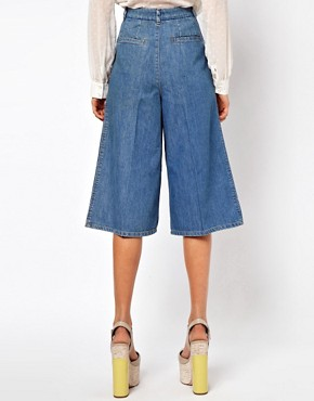 Image 2 ofASOS Denim Culottes in Vintage True Blue