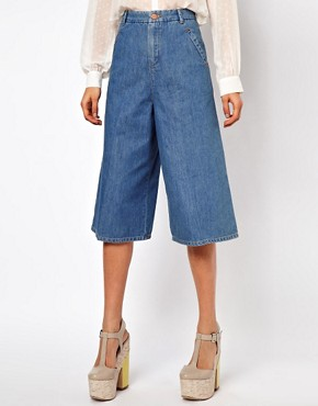 Image 4 ofASOS Denim Culottes in Vintage True Blue