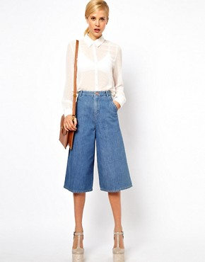 Image 1 ofASOS Denim Culottes in Vintage True Blue