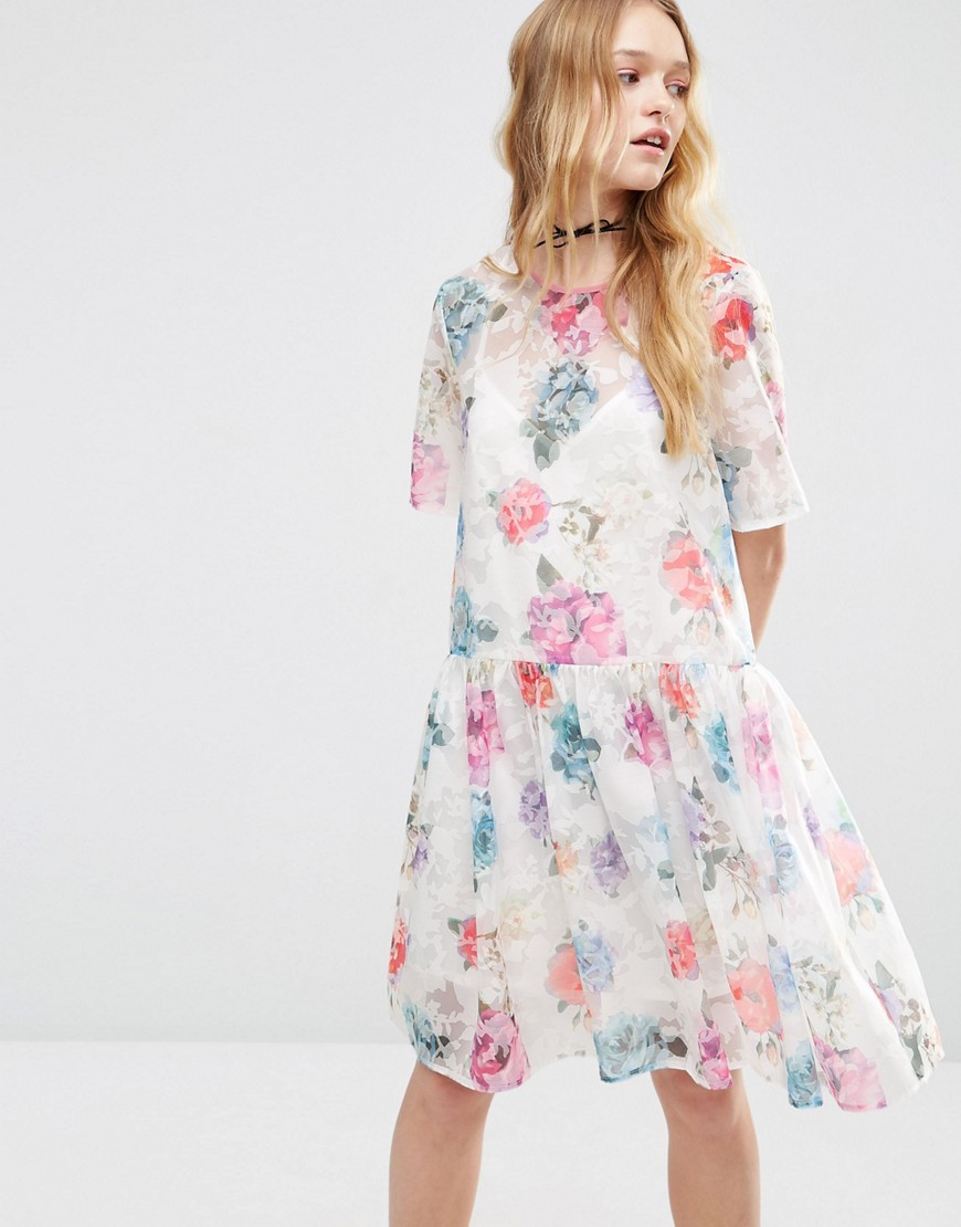 ASOS Smock Dress in Organza Floral - Multi