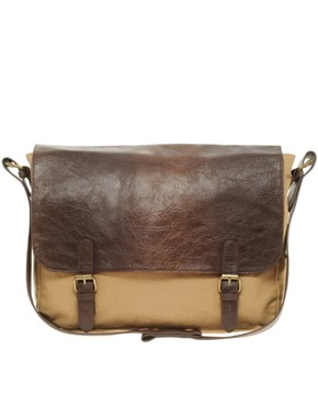 Image 2 ofASOS Satchel with Leather Look Flap