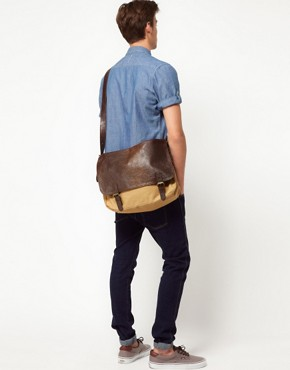 Image 1 ofASOS Satchel with Leather Look Flap