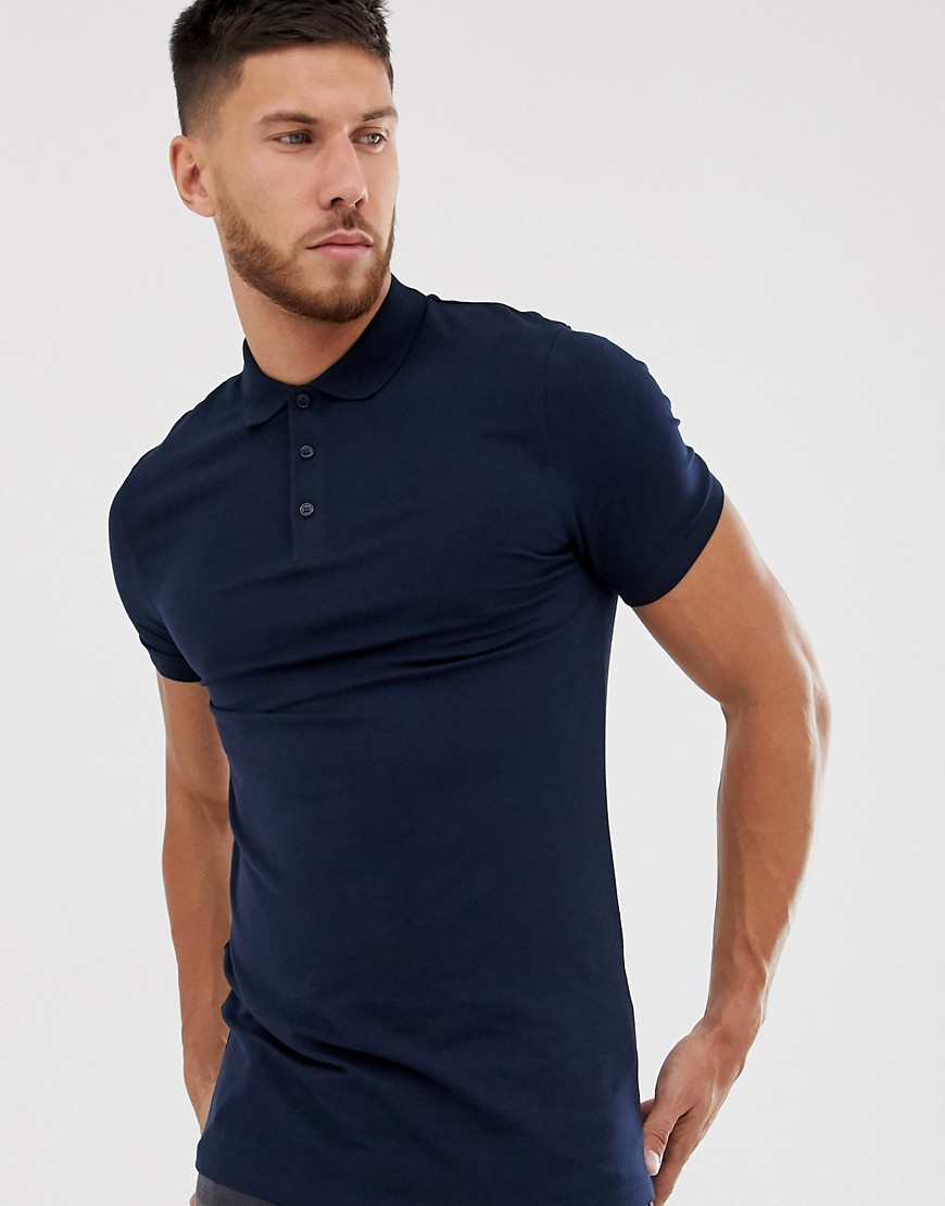 Homme asos design - polo long moulant - bleu...