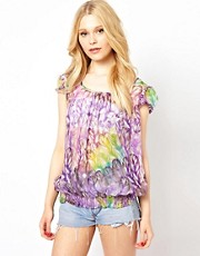 Traffic People Feather Print Silk Top
