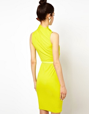 Image 2 ofAqua Lonny Midi Dress with Twisted High Neck and Belt