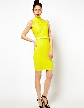 Image 4 ofAqua Lonny Midi Dress with Twisted High Neck and Belt
