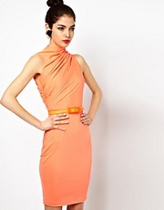Aqua Lonny Midi Dress with Twisted High Neck and Belt