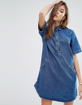 Pull&Bear Denim T-Shirt Dress