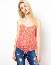 BA&SH Low Back Tank in Printed Cotton with Bead Detail